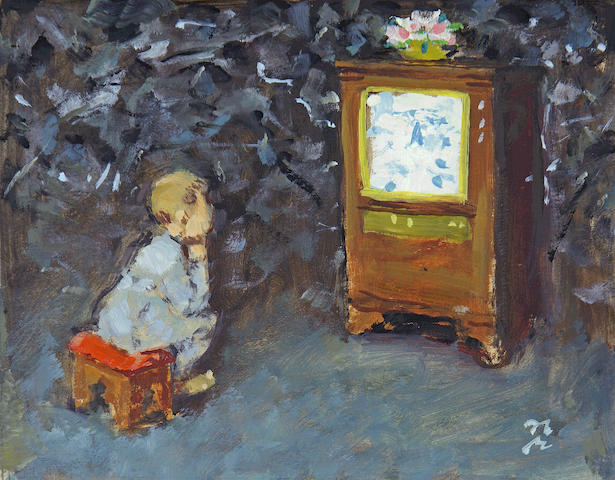 Norman Rockwell (American, 1894-1978) Child watching television sheet 10 x 11 1/2in; image 6 1/2 x 8 1/2in unframed