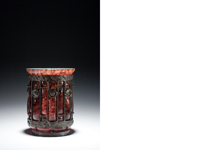 A Daum Freres and Majorelle blown-out vase