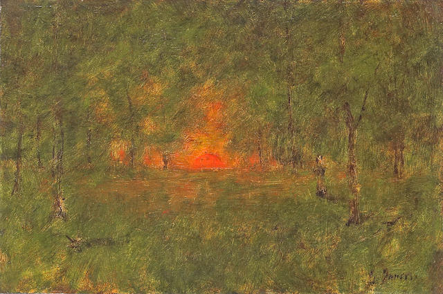 George Inness (American, 1825-1894) Forest sunset with figure 12 x 18 1/4in