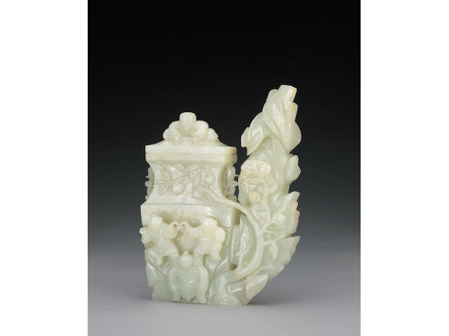 An unusual white jade covered vase with children and garden rock 18th Century
