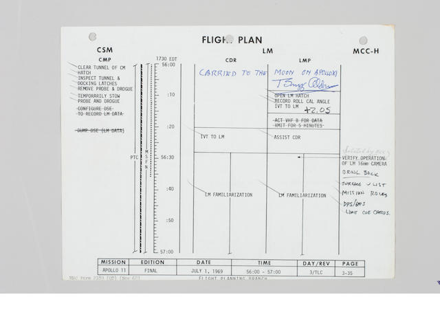FLOWN Apollo 11 Flight Plan, Page 3-35/36, Armstrong notes, LM Inspect