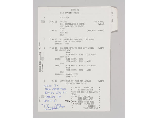 FLOWN Apollo 11 LM G/ N Dictionary, three sheet LANDING SEQUENCE