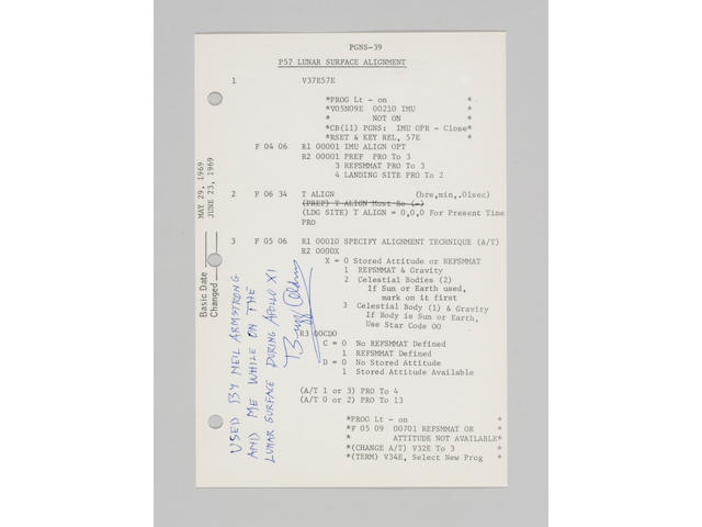 FLOWN APOLLO 11 LM G & N DICTIONARY SHEET–EAGLE'S NAVIGATION UPDATE.