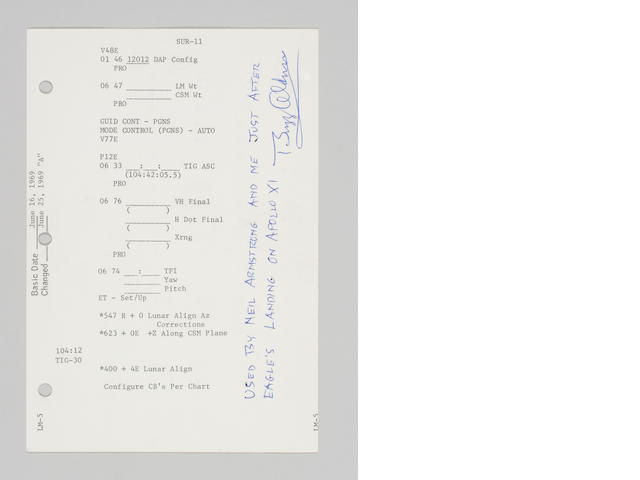 FLOWN Apollo 11 LUNAR SURFACE Checklist, SUR-11/SUR-12, Secure LM