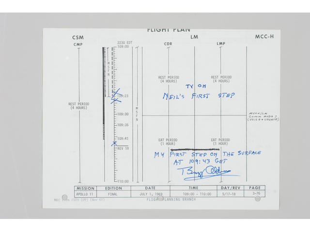 FLOWN APOLLO 11 FLIGHT PLAN SHEET.