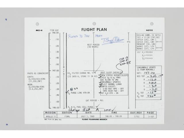 FLOWN APOLLO 11 FLIGHT PLAN SHEET–EXTENSIVE ANNOTATIONS.