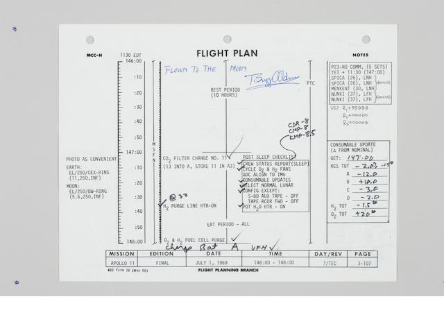 FLOWN Apollo 11 Flight Plan, Page 3-107/108, Extensive Notes by Arm & Aldrin