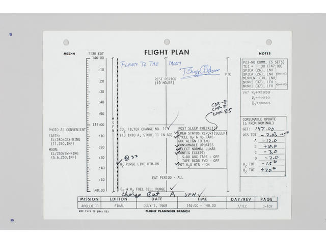 FLOWN APOLLO 11 FLIGHT PLAN SHEET–EXTENSIVE ANNOTATIONS.