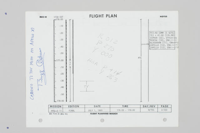 FLOWN APOLLO 11 FLIGHT PLAN SHEET–THE TV BROADCAST.