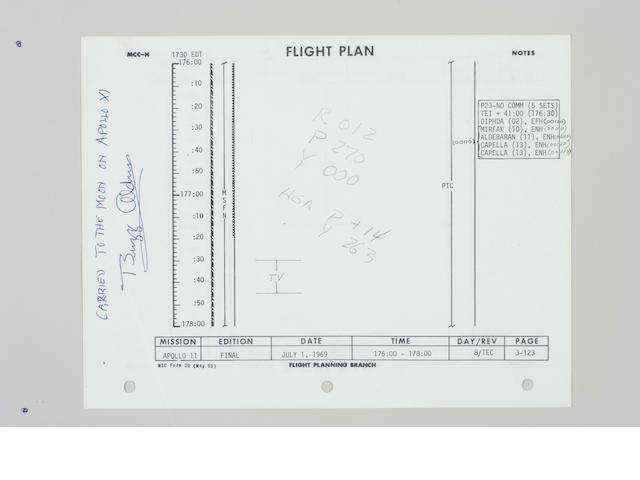 FLOWN Apollo 11 Flight Plan, Page 3-122/123, Historical Reflections TV