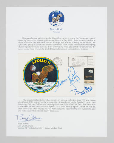 Apollo 11 Insurance Cover, Crew Signed, A-11 Emblem