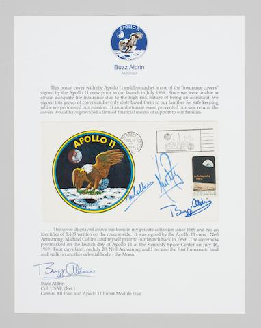 Apollo 11 Insurance Cover, Crew Signed, A-11 Emblem