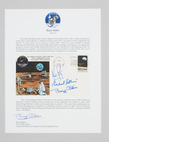 Apollo 11 Insurance Cover, Crew Signed, Lunar Landing