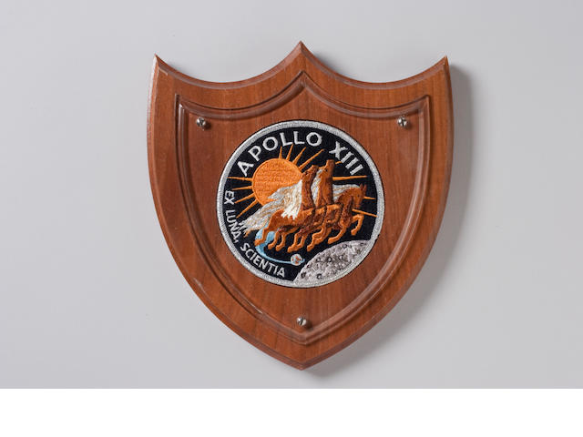 FLOWN APOLLO 13 Cloth Crew Emblem on Plaque