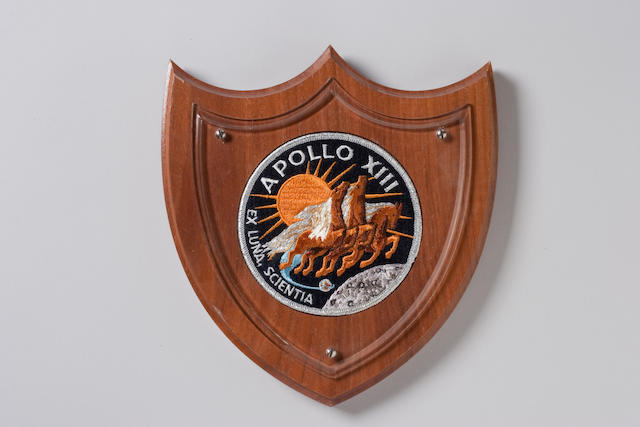 FLOWN APOLLO 13 Cloth Crew Emblem on Plaque