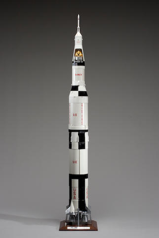 SATURN V Rocket Model with Carry Case and pictures of M. Faget with this model