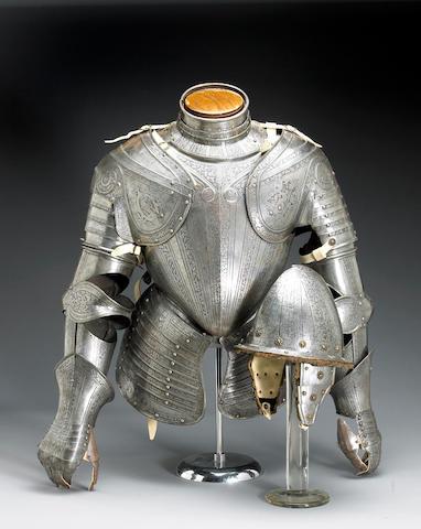A composite Italian three-quarter suit of armor in the Pisan manner