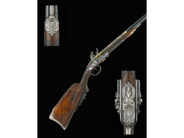 A silver-mounted French flintlock fowling gun by Nicolas Noel Boutet