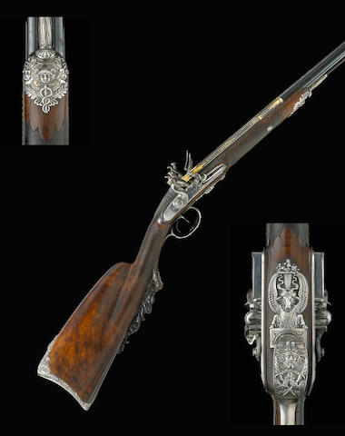 A silver-mounted French flintlock fowling gun by Nicolas Noel Boutet