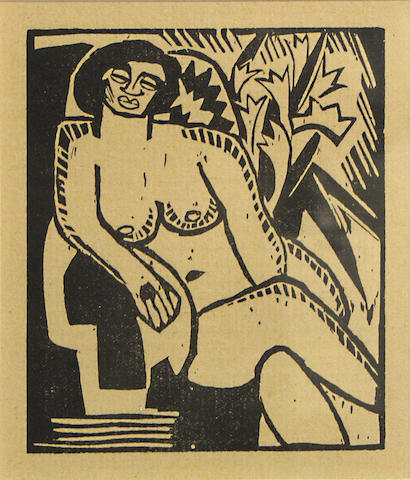 Karl Schmidt-Rottluff (German, 1884-1976); Untitled (Sitzender nu), from Holzschnitt;