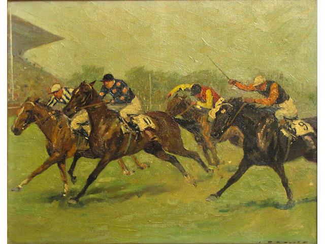 Carl Franz Bauer (Austrian, 1879-1954) Horse race 8 1/4 x 10 1/4in