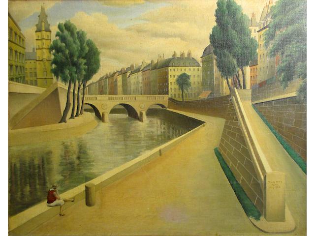 Arnold Wiltz (American, 1889-1937) Along the Seine, Paris, 1928 19 3/4 x 24in