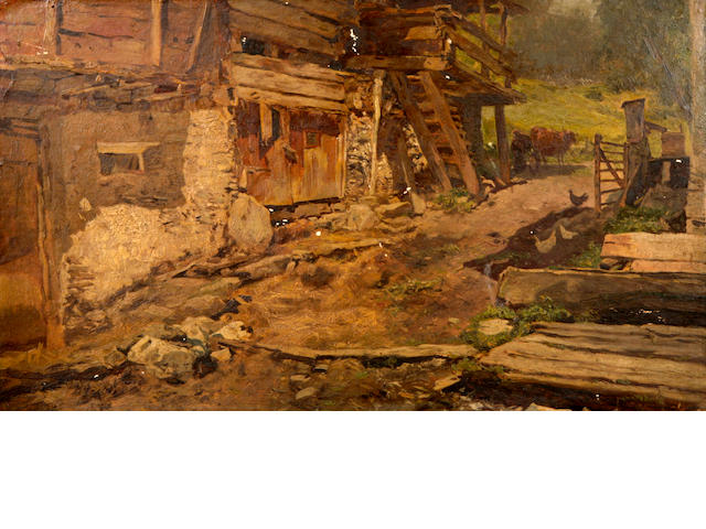 Austrian School A farmyard scene 17 1/2 x 10 3/8in