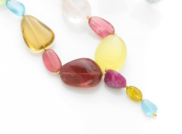 Multi-gem Bead Necklace