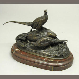A French patinated bronze animalier group of two pheasants