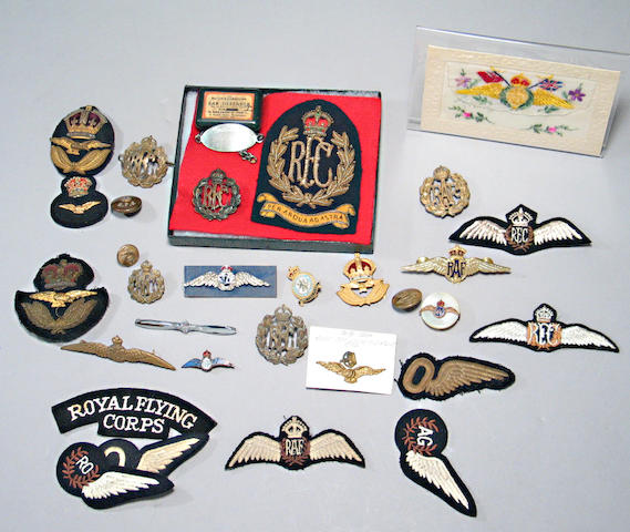 A lot of British RFC and RAF insignia and memorabilia
