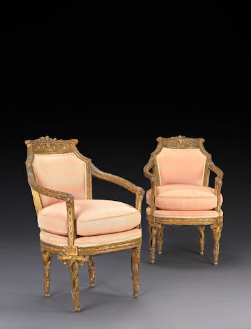 A set of Italian Neoclassical giltwood upholstered seat furniture, last quarter 18th century
