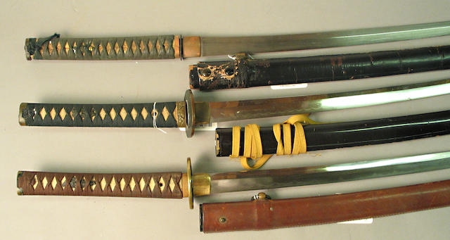 A group of three Japanese swords