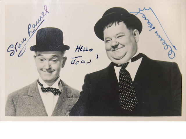 A Laurel and Hardy signed photograph, late 1940s