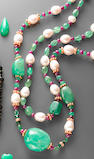Emerald, Ruby and Pearl Necklace