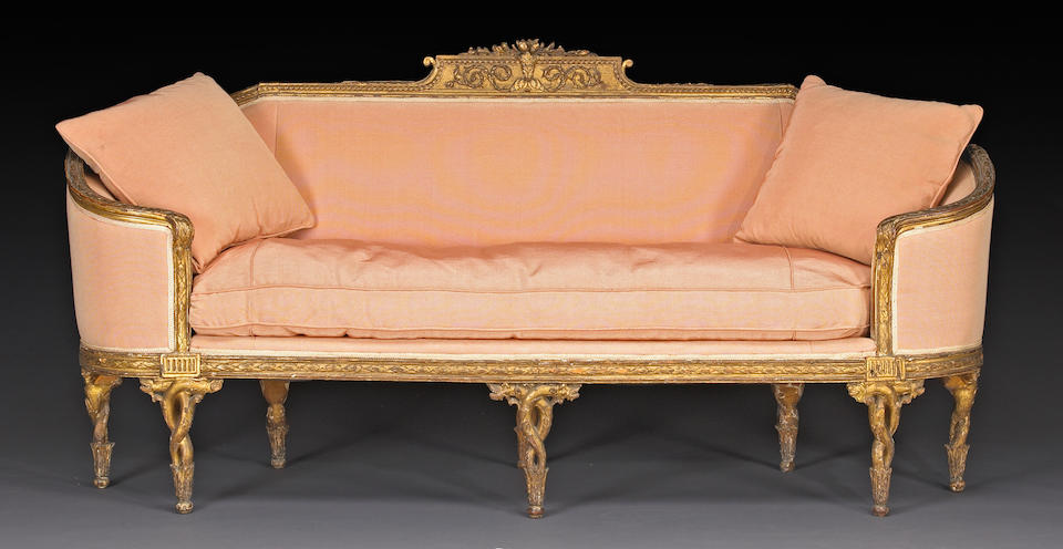 An important set of Italian Neoclassical giltwood seat furniture