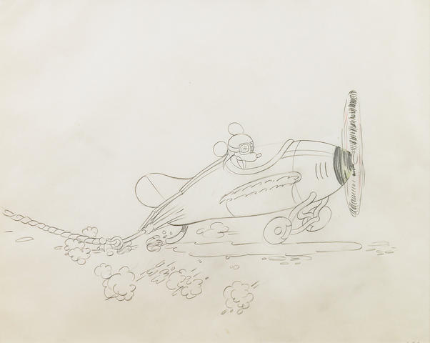 """A Walt Disney animation drawing from """"The Mail Pilot"""""""