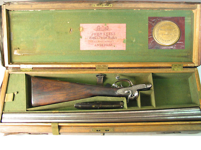A cased 12 gauge Scottish underlever hammer gun by John Lyell