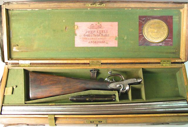 A cased 12 gauge Scottish underlever hammer gun by John Lyell