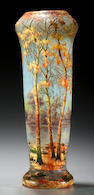 A Daum Nancy enameled cameo glass Autumn  Landscape vase