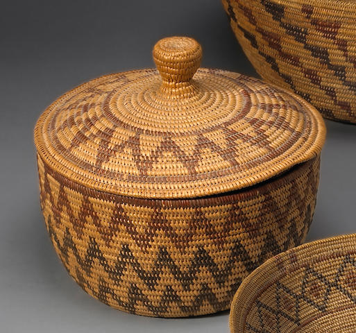 A Paiute/Washo polychrome lidded basket
