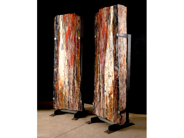 The Twins – Monumental Cut and Polished Petrified Wood Log