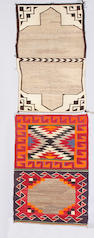 Two Navajo double saddle blankets, 4ft 4in x 2ft 11in, 4ft 4in x 2ft 8in