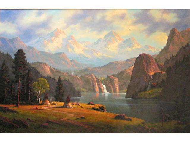 Heinie Hartwig (American, born 1937) 'Home in the Colorado Rockies' 40 x 60in
