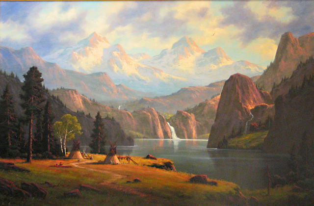 Heinie Hartwig (American, born 1937) 'Home in the Colorado Rockies' 40 x 60in