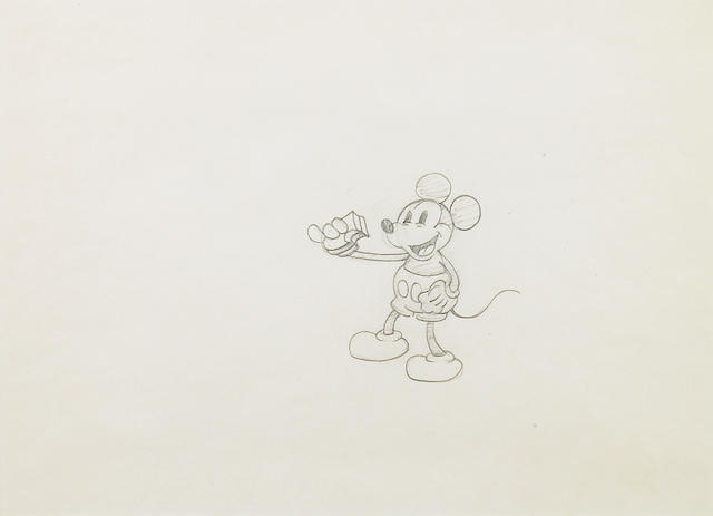 Three Walt Disney animation drawings of Mickey Mouse