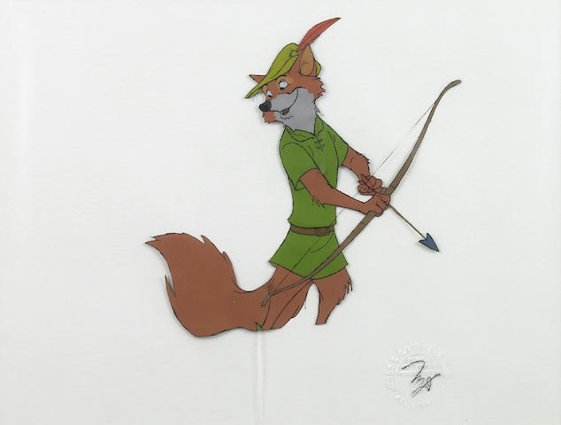 2 WD cels of Robin Hood and Prince John