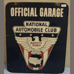 A National Automobile Club 'Official Garage' sign,