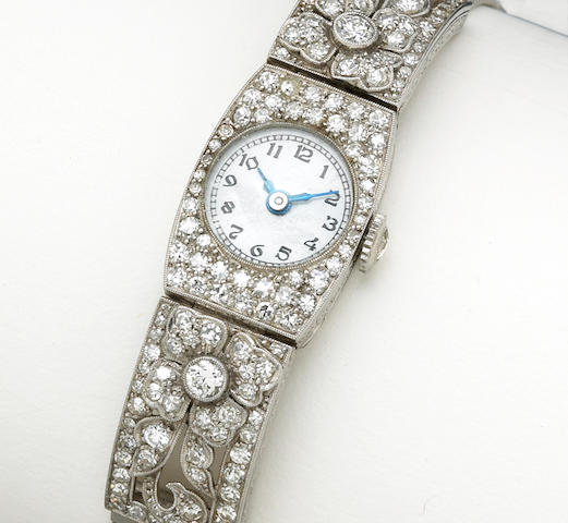 Patek Philippe. An art deco diamond wristwatch