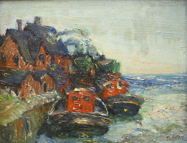 Samuel Byer (American, born 1885) Tugboats 8 3/4 x 11 3/4in