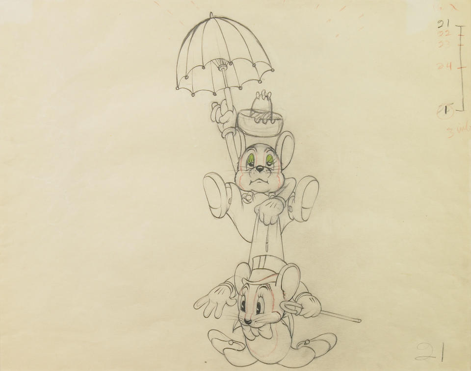 "Two Walt Disney animation drawings from ""Society Dog Show"" and ""The Country Cousin"""
